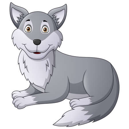 Cartoon wolf character. Vector illustration