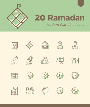 Set of Ramadan icons. Contains such icons as Al Quran, Ketupat, Muslim, Mosque, and more. Editable vector. 50x50 pixel
