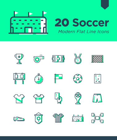Set of Soccer icons. Contains such icons as Football, Soccer, Soccer Equipment, Thropy and more. Editable vector. 50x50 pixel