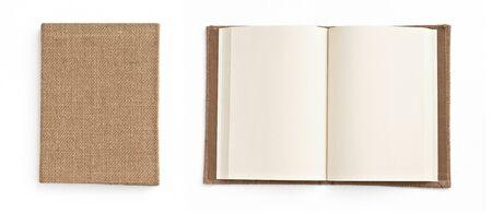 nota de papel: Cuaderno en segundo plano blanco Foto de archivo