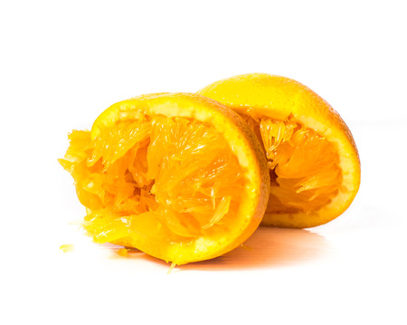 then: Then squeeze the orange on a white background