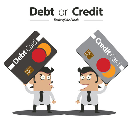 Debt or Credit   Battle of Plastic Card Vector