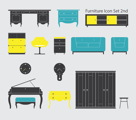 Furniture Icon in Minimal Style Set 2nd Vector