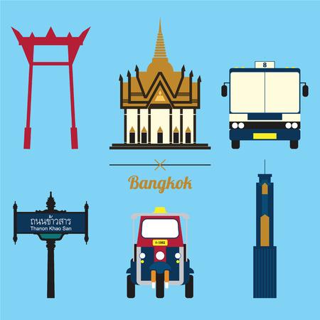 A set of Bangkok City Icon 일러스트