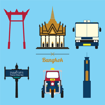 A set of Bangkok City Icon Stock Illustratie