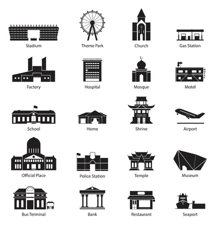 chinese temple: Black and White City Building Icon Set Illustration