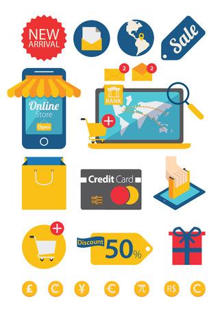 e commerce: Een set van platte design concept pictogrammen voor e-commerce