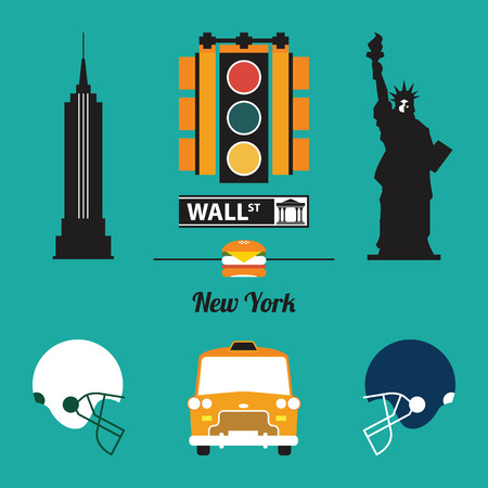 A set of New York City Icon Vector