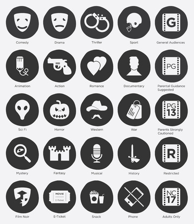 Set of Online Cinema Icon and Film Genres Icon in Flat Design Vector
