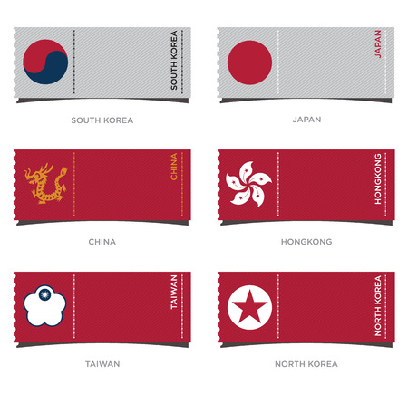 east asia: Set of Badge and Flag Icon for East Asia in Flat Design, Vector