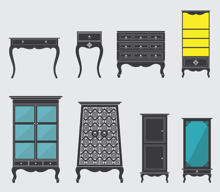 dressing table: Set of Furniture and Chair Icon in Flat Design, Minimal Style Illustration