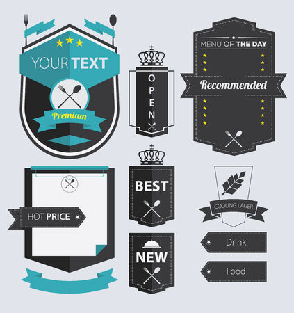 Set of Pub and Restaurant  Retro Vintage Labels and Badge in Flat Icon Design Vector