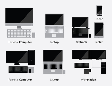 Set of Computer Icon and Modern Gadgets Icon in Flat Design, Vector