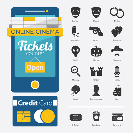 genre: Set of Movie Online in Flat Icon Design and Film Genre in Minimal Style