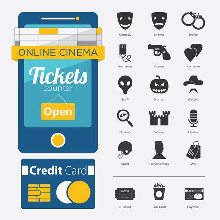 thriller: Set of Movie Online in Flat Icon Design and Film Genre in Minimal Style