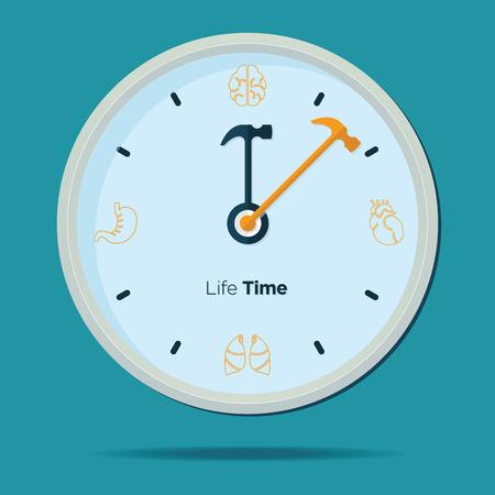 disrupt: Health Clock  in Flat Design