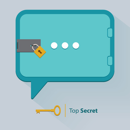 promising: Flat Icon of Top Secret Speech Bubble Background with Key Lock, Vector
