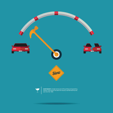 Vector of Speedometer and Slow Sign on Yellow Road Label