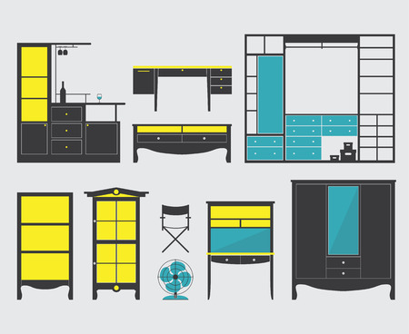 Set of Furniture Icon in Flat Design Vector
