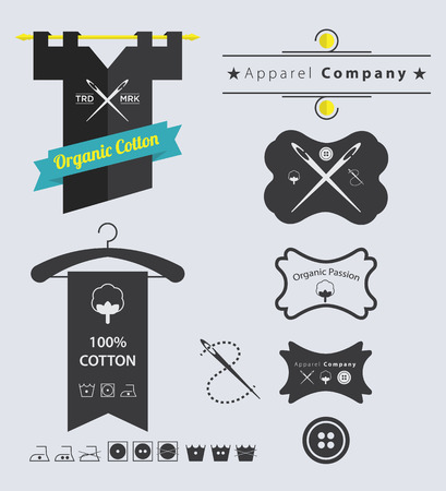 sew tags: Set of Apparel Company Retro Vintage Labels and Badge Illustration