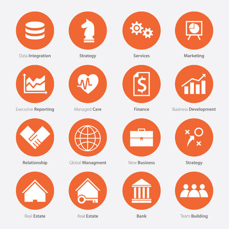 relationship management: Set of Business Career Icon in Flat Design, Minimal Style, Vector
