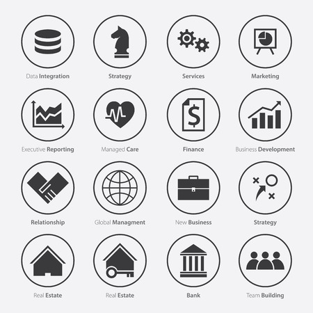 career plan: Set of Business Career Icon in Flat Design, Minimal Style, Vector