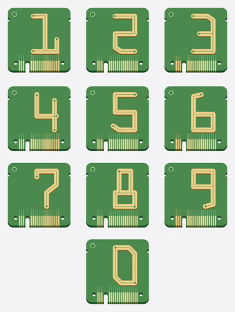 of Electronic Number, Circuit Alphabet, Digital Icon, Vector Vector