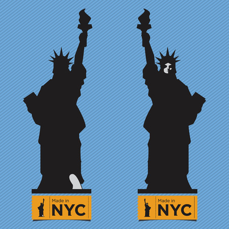 black shadow: Flat Icon of  Liberty  Statue, Front View and Back View, Vector, Black Shadow Silhouette