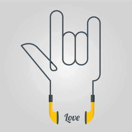chill out: Love  Symbol  Hand and Music Design elements with Earphones in Flat Design, Vector, Illustration