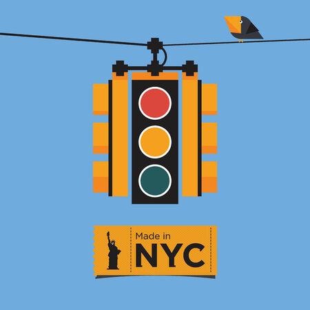 Flat Icon Design of Yellow Traffic light, New York, Vector, Illustration. Illusztráció