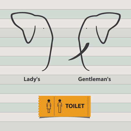 Icon Set of Man and Lady Toilet Sign