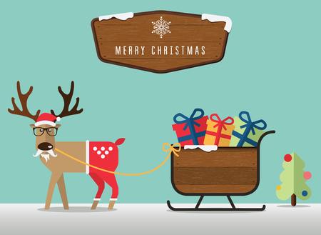 renna: Scene di Natale allegra con la renna, santa? s slitta e legno distintivo