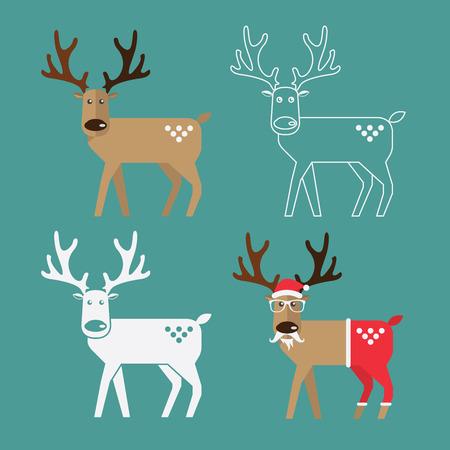 cartoon deer: Happy reindeer in flat design. Vector. Illustration