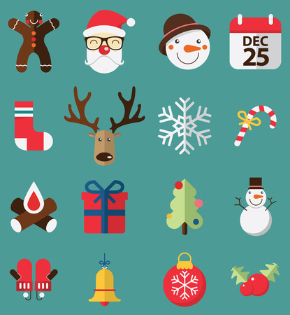 campanas de navidad: Diseño plano de iconos conjunto de Navidad. Vector. Ilustración.