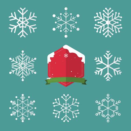 schneeflocke: Set der Schneeflocke in flacher Bauform und Weihnachtsabzeichen. Illustration
