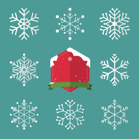 Set of snowflake in flat design and christmas badge. Stock Illustratie