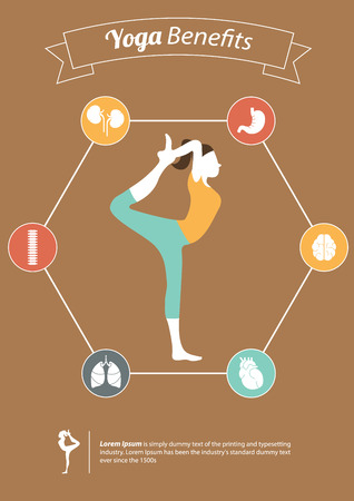 Yoga Poses and Yoga Benefits in Flat Design with Set of Organ Icon, Info graphic, Vector, Illustration Vector