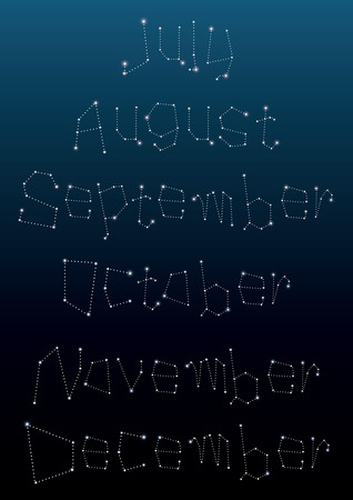 backgrounds: Monthly calendar for July to December in constellations and star shape. Vector. Illustration. Illustration