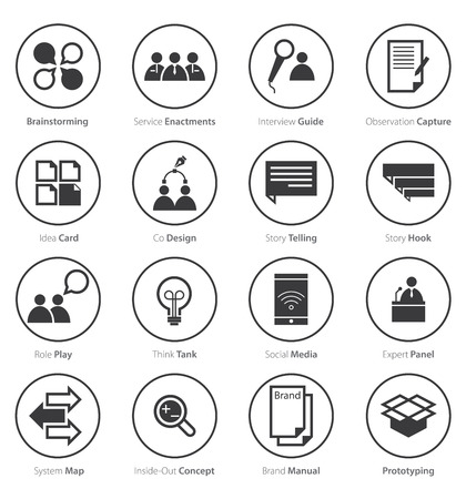customer focus: Icon  Set of Business Career, Marketing  in Flat Design