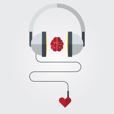 Headphone with brain and heart in flat design. Vector. Illustration