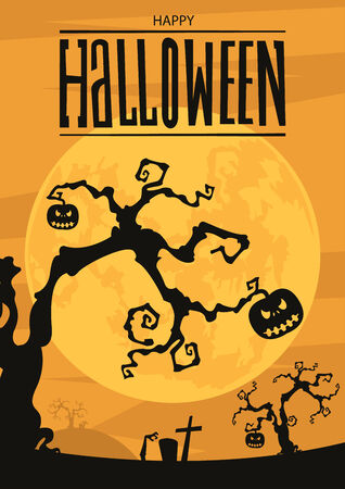 Halloween night background with full moon and pumpkins, Vector, Illustration Illustration