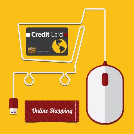 online purchase: Red and White Mouse in Shopping Cart Symbol, Online Shopping in flat Icon, Vector, Illustration