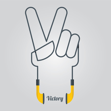 victory symbol: Victory  Symbol  in Hand shape  and Music Design elements with Earphones in Flat Design, Vector, Illustration