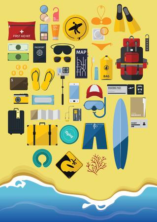 condom: Flat Design Icon Set  of  Backpack Traveling on Summer Vacation, Surfboard, Minimal Style, Vector, Illustration Illustration