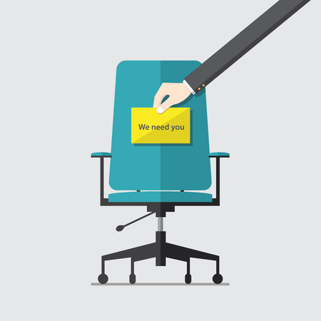 recruitment icon: Business chair with hiring message in hand