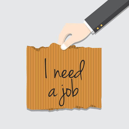 resign: Hand holding cardboard paper with I need job