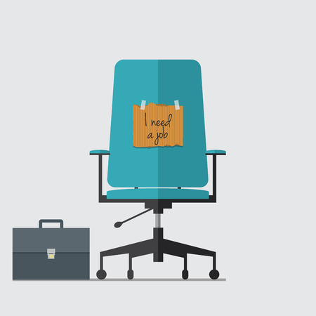 resign: Business chair with I need job message on cardboard paper Illustration