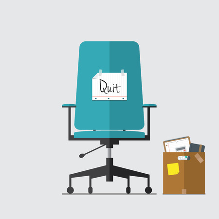 Business Chair with resign message from employee