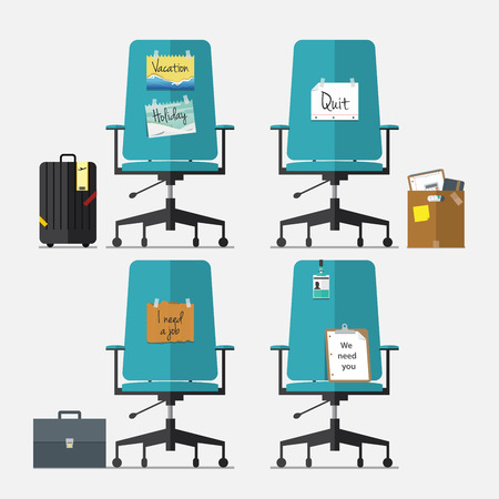 Set of office chair in flat design with resign message, vacation or holiday message, I need a job message and we need you message, Vector, Illustration Иллюстрация