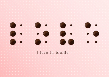 braille: Love in braille alphabet with white dot on pink background, Vector, Illustration